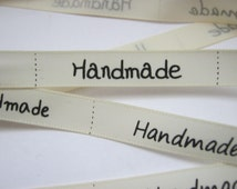 """Cream Satin """"Handmade"""" Ribbon Sewing Labels x 1 Metre (3ft 3in) Ribbon Clothes Labels Tags Crafts"""