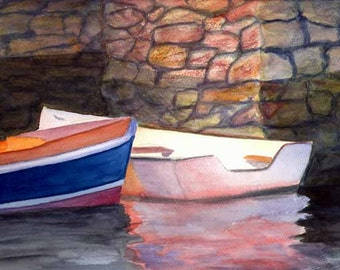 "Matted Water Color Reproduction Print ""Two Skiffs"""
