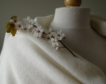 Wedding Shawl / Wrap / Bridal Shawl - Knitted in Lambswool - Colour Creamy White