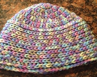 Multicolor, comfy beanie! Different stitches for added interest and comfort!