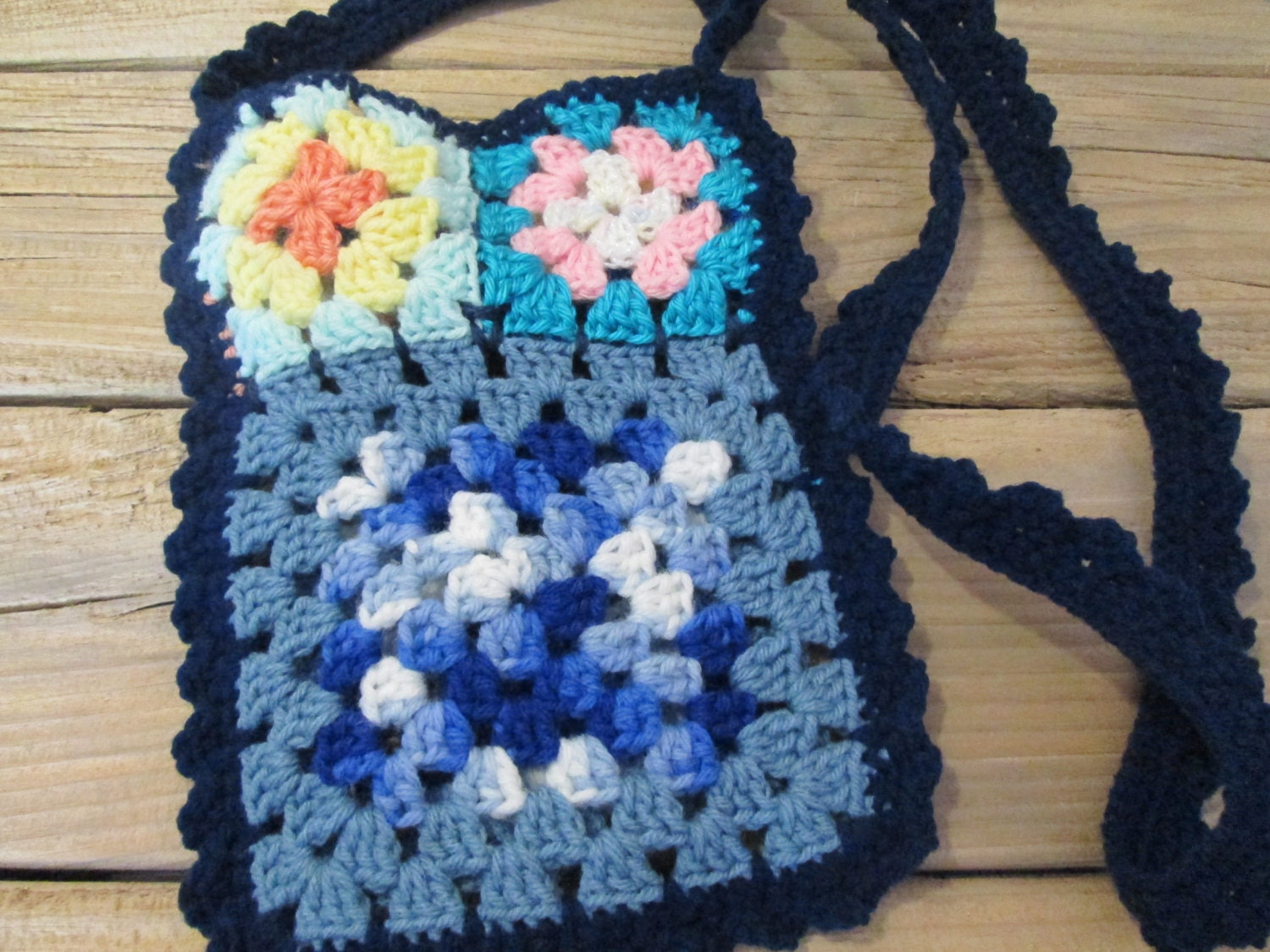 Handmade Crochet Handbags : Handmade Crochet Cross Body Purse Granny by ValentinesDesign