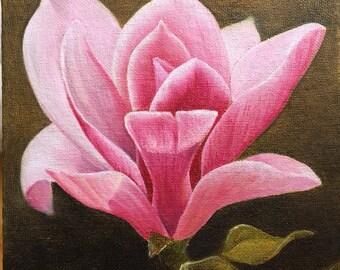 """Original oil painting. Magnolia. 6x6"""""""