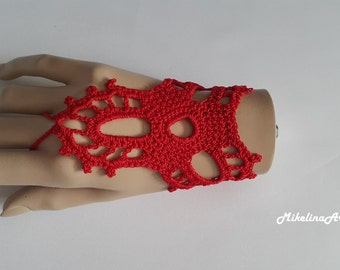 Crochet Mittens, Fingerless Gloves,Crochet Bracelet, Red, 100% Cotton.