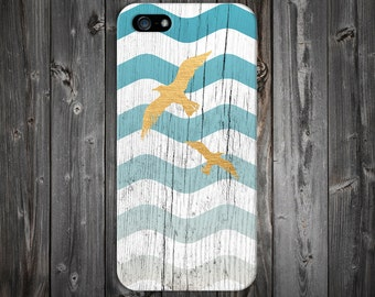 Blue Faded Waves x Golden Seagulls x White Wood Design Case for iPhone 7 iPhone 7S 5C iPhone 4 iPhone 4S and Samsung Galaxy  & s7