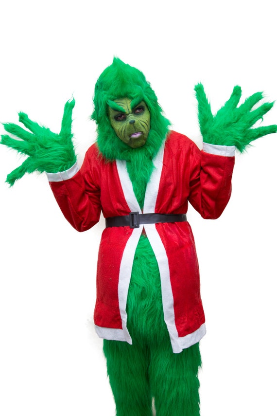 ... Full professional costume for the grinch. fur costume and prosthetic