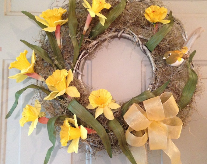 Spring Wreath with Daffodils, a Lark Nesting in Moss and a Yellow Satin Bow • Spring Sunshine Wreath • Exclusive Design at Crafts by the Sea