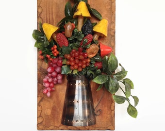 Vintage plastic fruit wall plaque retro wood decor gaudy design