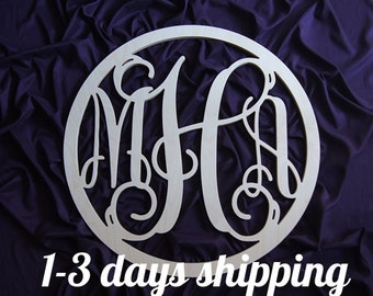 26 inch Large Wooden monogram wall hanging wall decor wreath  UNPAINTED