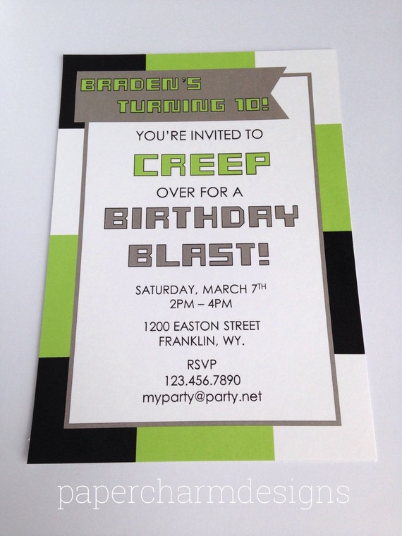 PRINTABLE Gamer Party Invitation (5 x 7-inches)