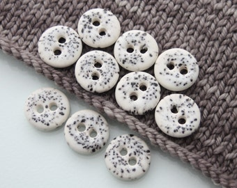 """10 Small Black And White Ceramic Buttons (21 mm / 0.8"""")"""