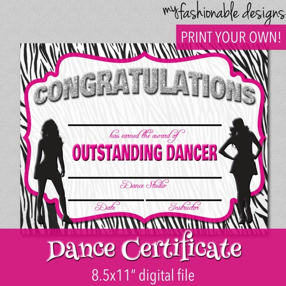 items similar to dance certificate print your own