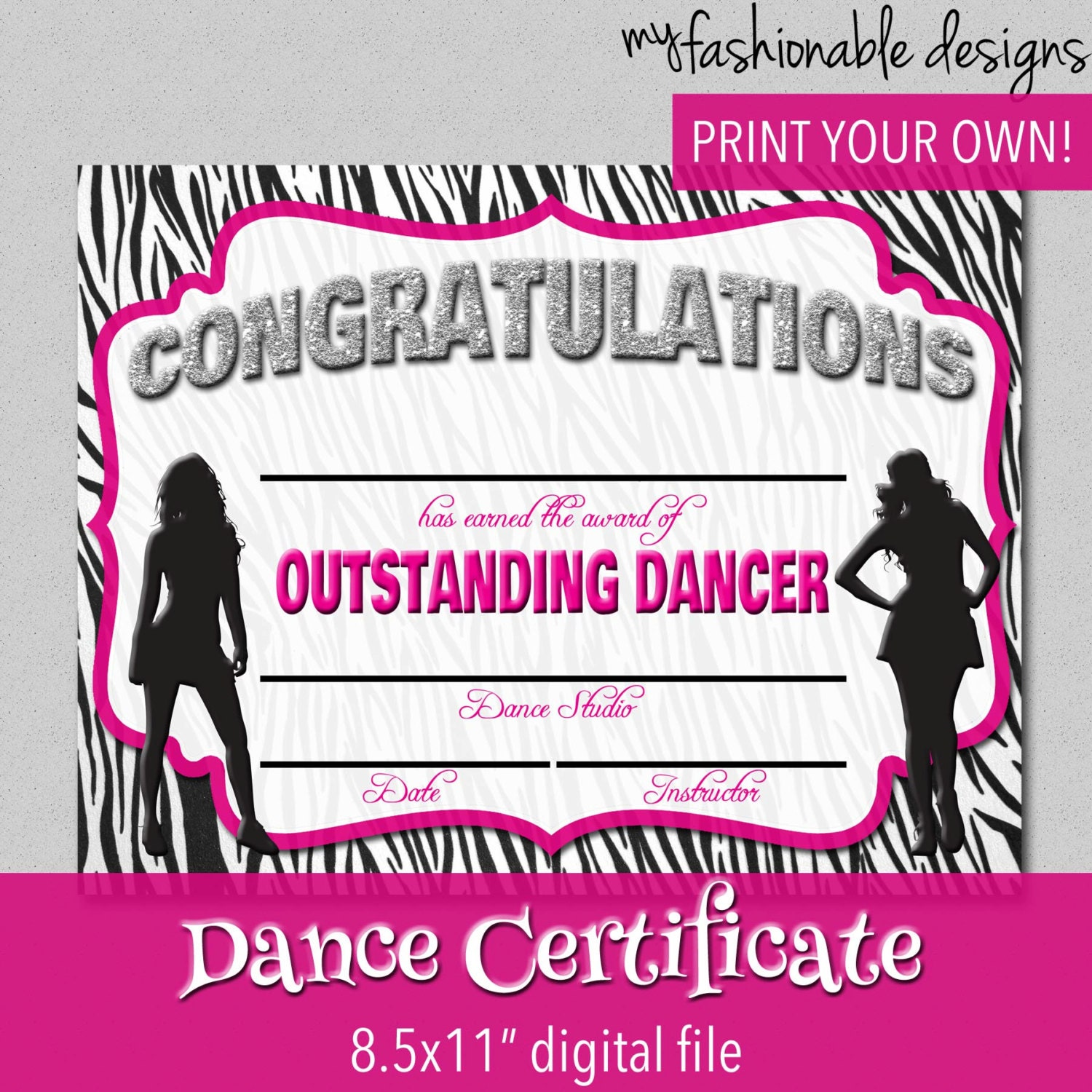 Dance Certificate Print Your Own Instant by