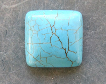 Blue turquoise 24x24 mm square cabochon