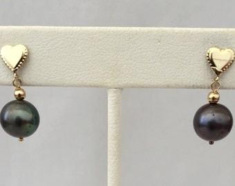 14K Gold & Black Pearl Earring-Vintage Dangling Pearl Pierced Earrings - Gift, Bride, Wedding,Flower Girl- 14Kt Gold