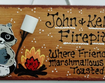 FIREPIT SIGN Personalized Name RACCOON Sign Fire Pit Backyard Deck Patio Plaque