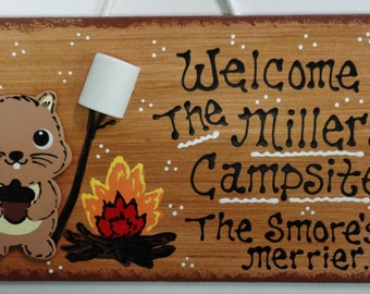 CAMPSITE SIGN Personalized Name Camp Camping SQUIRREL Plaque The Smore's The Merrier