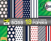 Digital Paper, New York Yankees, Baseball, MLB, World Series, Jamberry, Playoffs, Red, White, Blue, Yankees, Commercial