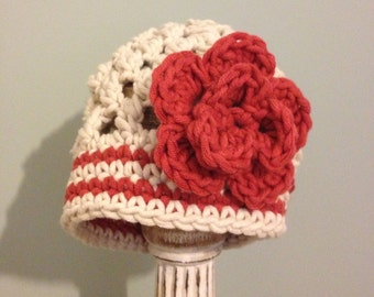 Chunky Girls Hat with Flower