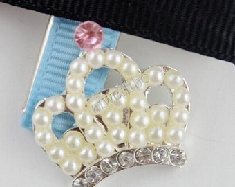 Rhinestone Pearl Crown Button, Flower Centers, Flat Back Buttons