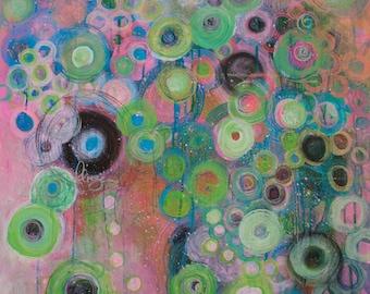 Fliegen (to fly) - original art, fine art, contemporary art, painting, gift, gift idea, artwork, valentine, circle art, abstract