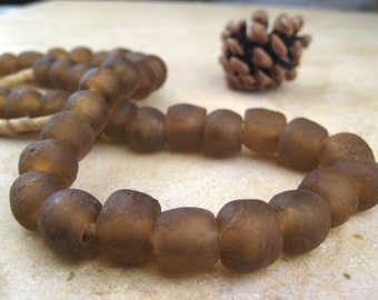 Brown Recycled Glass Beads: World's Most Eco-Friendly Beads! Ghana Beads - African Beads - Wholesale Glass Beads - Made of Bottles 614