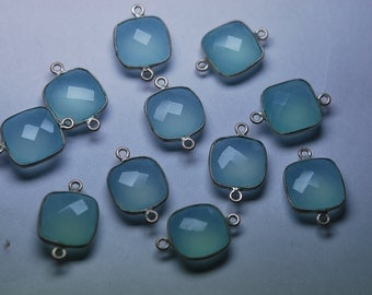 925 Sterling Silver, Aqua Chalcedony Faceted Cousion 19mm