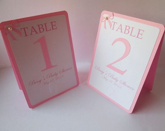 5 Pink Girl Baby Shower Table Numbers, Baby Shower Table Cards, Double Sided, Tented, Baby Shower Decor
