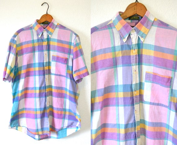 VTG Pastel Plaid Shirt Men LARGE Mens Button Down Shirt