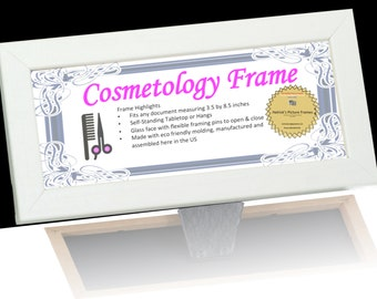 cosmetology self standing picture frames with glass easel back and hanger for professionals certificates tax license and more