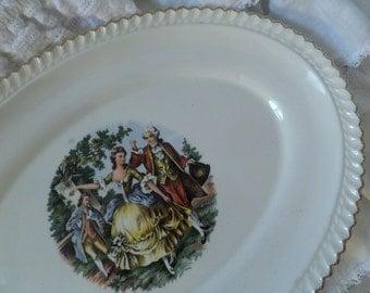 Vintage French Victorian Romantic Paris Display Platter Shabby Chic Marie Antoinette