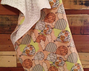 SALE! Hot air balloon infant and toddler minky blanket