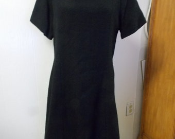 1960s Era Sears Fashions Wool & Nylon Black Dress USA Made