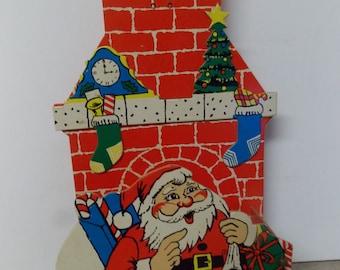 Vintage Santa Claus 3 Dimensional Chimney Card Holder Japan
