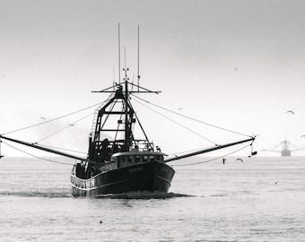 Fishing Ships, Ocean, Photography, Print, Black and White, B&W
