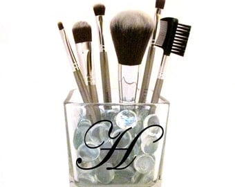 Personalized Makeup Brush Holder, Square Glass Jar with Pebbles Included, Different Colors Available