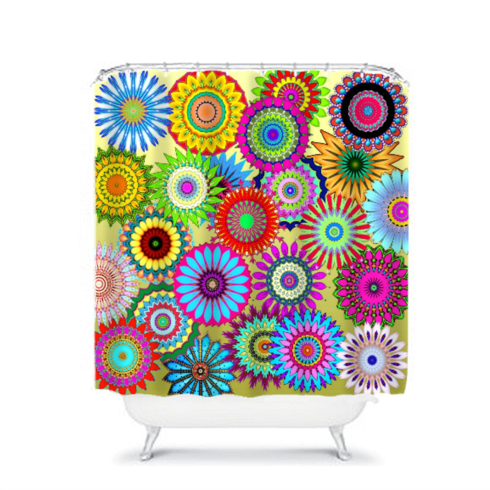 colorful funky boho chic floral shower curtain by folkandfunky