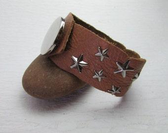 Star Studded Leather Cuff Bracelet