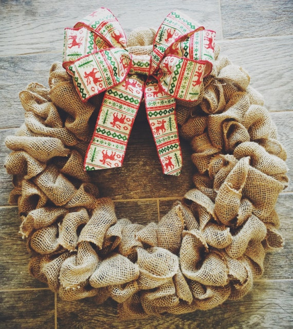 Items Similar To Burlap Wreath With Hipster Holiday Bow