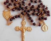 Rosary - Garnet Saint Mary Magdalene Rosary - 18K Gold Vermeil Crucifix & Center