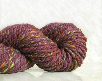 Bulky wool handspun yarn Purple tweed  5.36 oz 78 yards 23 mc / 150 g 70 m tweed yarn scarf yarn