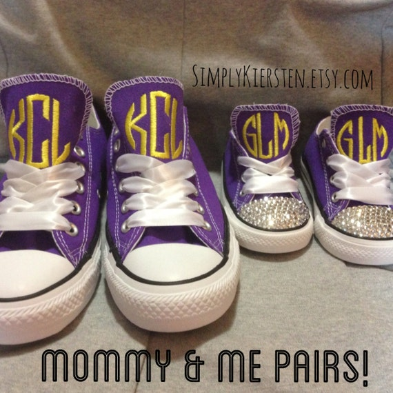 Mommy and me shoes, mommy and me clothing, mommy and me baby girl, monogram converse, mommy and me matching, toddler converse,child converse