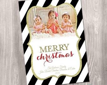 Photo Christmas Card, Christmas Card, Custom Photo Christmas Card, black and white, gold glitter, printable christmas card, holiday card