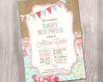 Shabby Chic Baby Shower Invitation, Girl Baby Shower Invitation, Vintage Baby Shower, Shabby Chic Invitation, Printable Invitation