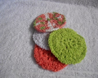 Dish Scrubbies, Crochet Scrubbies, Mary Maxim Scrub-it Yarn, Scrubbies, Peach, Lime Green, White & Variegated Scrubbie, Round Scrubbies