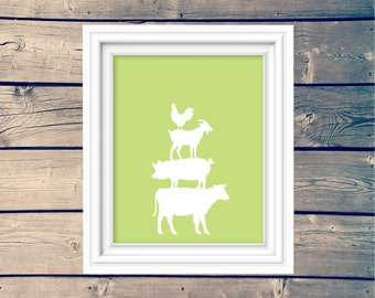 INSTANT DOWNLOAD, nursery print, stacked farm animals, toddler wall decor, printable, downloadable print, typography, playroom art, cow, pig