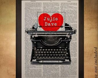 Typewriter Dictionary Art Print Heart Valentines Day Personalized Customized Love Romance Wall Art Gift Romantic da628