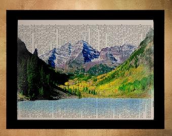 Colorado Maroon Bells Dictionary Art Print Aspen Travel Print Mountain Wall Art Home Decor Fine Art da803