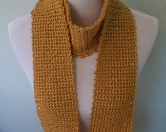 Cara - Gold sequined crocheted scarf