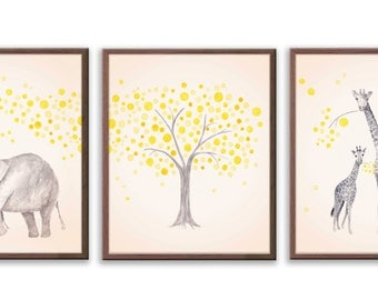 Elephant Nursery, Watercolor Nursery Art, Giraffe Nursery, Nursery Decor, Yelow and Gray Nursery Art, Set of Three Prints - S026B