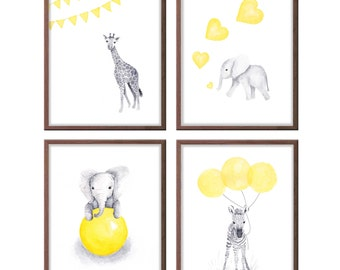 Baby Boy Nursery Art, Yellow and Gray Nursery Decor, Baby Elephant, Zebra, Giraffe, Art for Baby Boy, Wall Art, Set of 4 Prints -  S405
